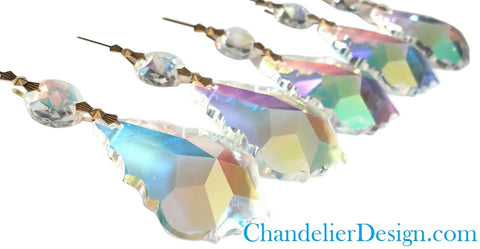 5 Iridescent AB French 38mm Chandelier Crystal Prisms Pendalogue Ornaments - ChandelierDesign