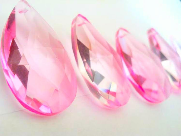 Pink 38mm Teardrop Chandelier Crystals Pendant, Pack of 5 - ChandelierDesign