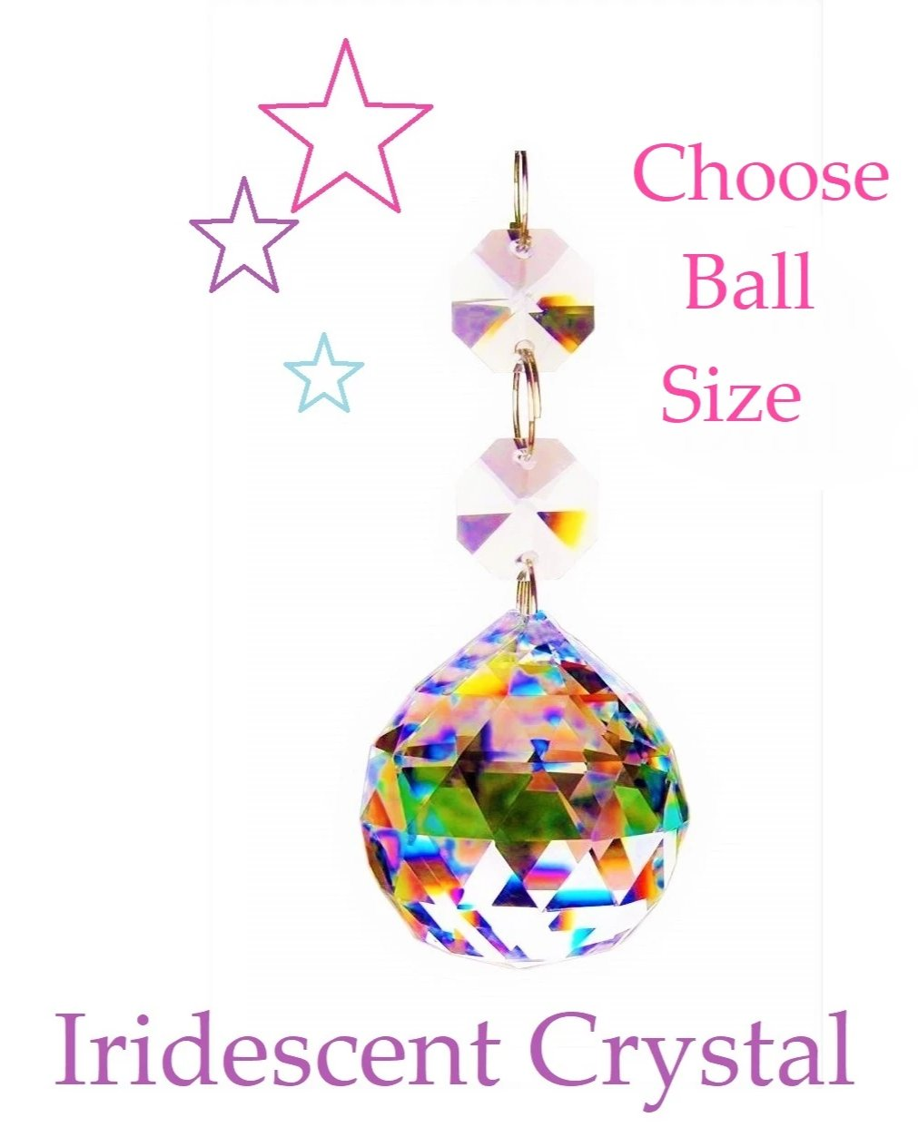 Iridescent Faceted Chandelier Ball Ornament, Gorgeous AB Lead Crystal - ChandelierDesign