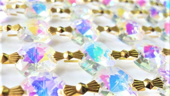 Iridescent AB Chandelier Crystal Garland Yard of Prisms - Asfour Lead Crystal - ChandelierDesign