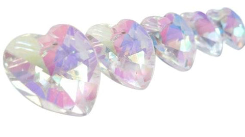 Heart Chandelier Crystals Prisms 28mm AB Iridescent - ChandelierDesign