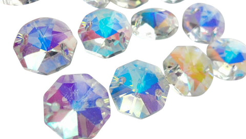 Iridescent AB Chandelier Crystal Octagon 14mm Prisms 2 Hole Beads Lead Crystal - ChandelierDesign