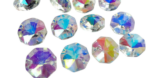 Iridescent AB Chandelier Crystal Octagon Mm Prisms Hole Beads - Octagon chandelier crystals
