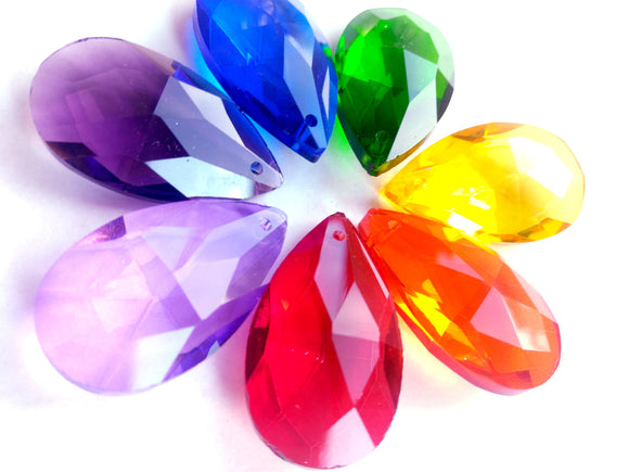 Rainbow Teardrop Assorted Chandelier Crystals Pack of 7 - ChandelierDesign