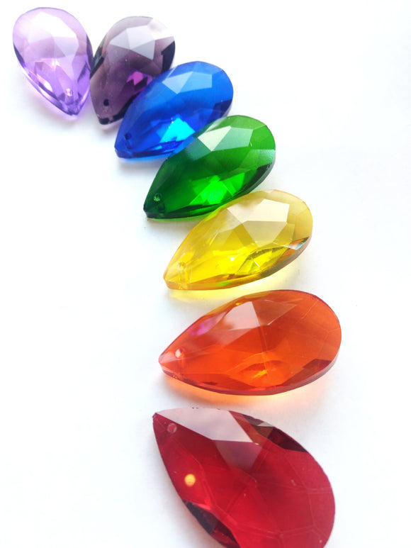 Set of 7 Rainbow Assortment Color 50mm Teardrop Chandelier Crystals - ChandelierDesign