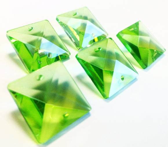 Spring Green Square 22mm Chandelier Crystals Glass Beads Pack of 6 - ChandelierDesign