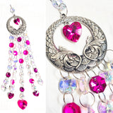 Gorgeous Iridescent and Fuchsia Pink Hearts Suncatcher, Valentine's Day Gift Boxed - ChandelierDesign