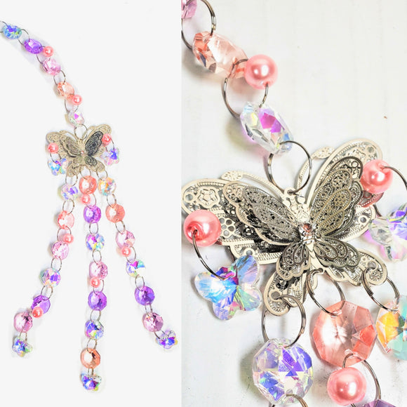 Iridescent Pink and Lilac Butterfly Suncatcher, Valentine's Day Gift Boxed - ChandelierDesign