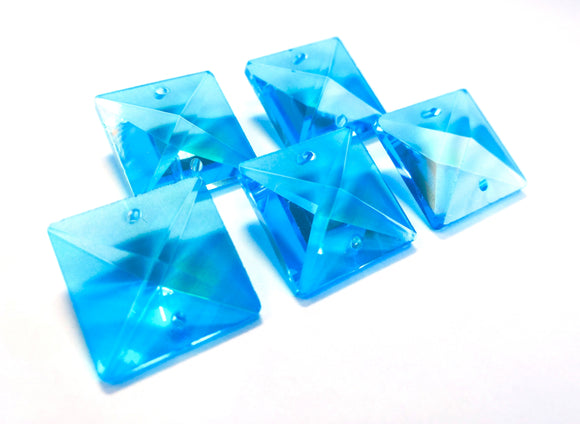 Aquamarine Square 22mm Chandelier Crystals Glass Beads Pack of 6 - ChandelierDesign