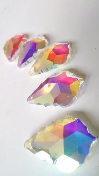 Iridescent AB French Chandelier Crystals Pendants, Asfour Lead Crystal, Pack of 5 - ChandelierDesign