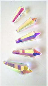Iridescent AB Icicle Chandelier Crystals, Pack of 5 Prisms - ChandelierDesign