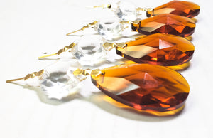 Dark Amber Teardrop Chandelier Crystals with Diamond Cut Octagon - ChandelierDesign