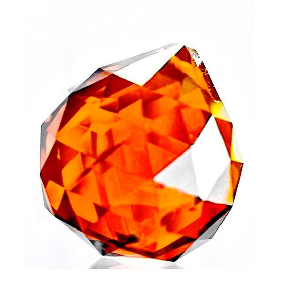 Amber Faceted Ball Prism Chandelier Crystals 30mm - ChandelierDesign