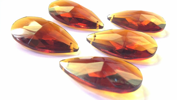 Dark Amber Teardrops Chandelier Crystals, 38mm Pack of 5 - ChandelierDesign