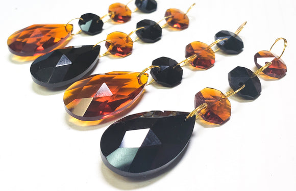 Amber and Black Teardrop Chandelier Crystal Ornaments Pack of 4