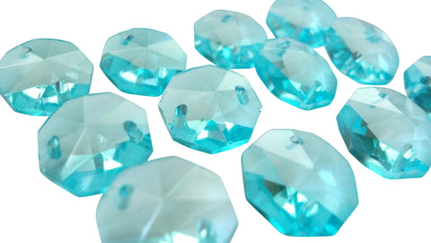 14mm Light Aqua (Antique Green) Chandelier Crystal Octagon Prisms 2 Hole Beads - ChandelierDesign