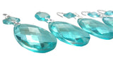 Light Aqua Diamond Cut Teardrop Chandelier Crystals, Pack of 5 - ChandelierDesign