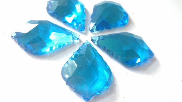 Aquamarine French Cut Chandelier Crystals, 50mm Pack of 5 - ChandelierDesign