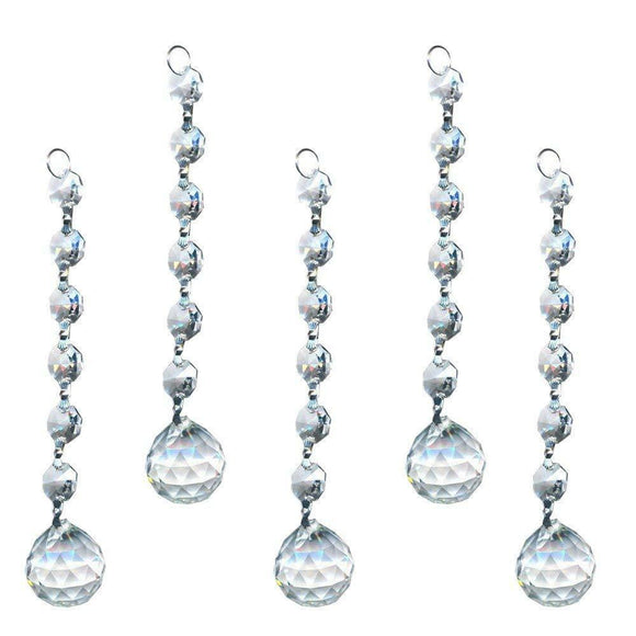 Clear Faceted Chandelier Ball Ornaments, Pack of 5 - ChandelierDesign