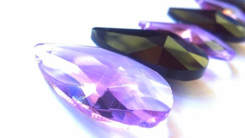 Lilac Purple and Black Teardrop Chandelier Crystals 38mm - ChandelierDesign