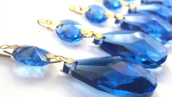 Cobalt Blue Teardrop Chandelier Crystals Ornament , Pack of 5 - ChandelierDesign