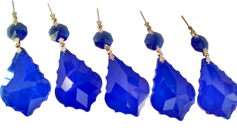 5 Cobalt Blue 50mm French Cut Chandelier Crystal Ornament