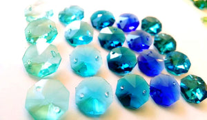 Assorted Blues Octagon Beads, 14mm Chandelier Crystals Prisms - ChandelierDesign