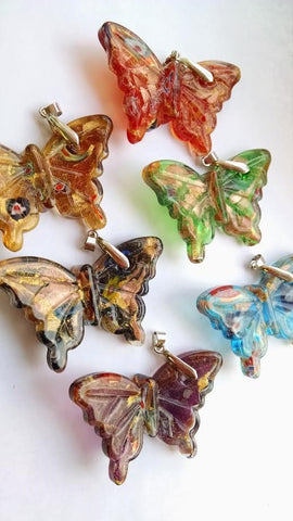 Glass Lampwork Butterfly Pendants Red Green Aqua Black Gold Purple - ChandelierDesign