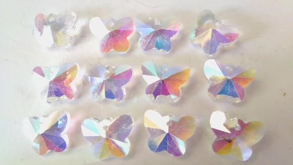 14mm Iridescent AB Butterfly Chandelier Crystal Prisms ONE Hole Beads - ChandelierDesign