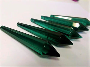 Teal Green Icicle Chandelier Crystals, Pack of 5 Pendants - ChandelierDesign