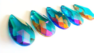 Iridescent Caribbean Teal Green 38mm Teardrop Chandelier Crystals, Pack of 5 - ChandelierDesign