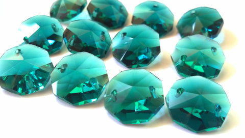 Caribbean Green Teal 14mm Octagon Chandelier Crystal Prisms 2 Hole Beads - ChandelierDesign