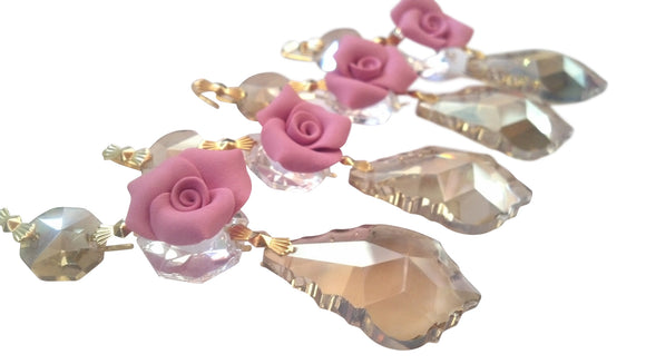 Champagne French Chandelier Crystal Ornaments with Pink Roses, Pack of 5 - ChandelierDesign