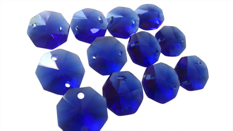 14mm Cobalt Blue Octagon Chandelier Crystal Octagon Prisms 2 Hole Beads - ChandelierDesign