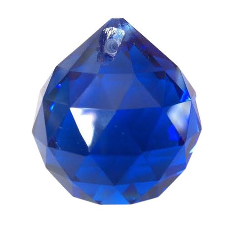 30mm Cobalt Blue Chandelier Crystal Faceted Ball Prism - ChandelierDesign