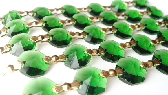 Green Chandelier Crystal Garland Yard of Prisms - ChandelierDesign