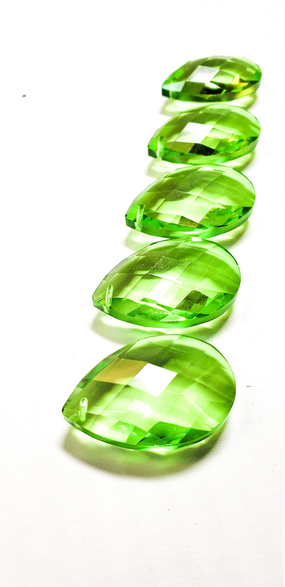Spring Green Diamond Cut Teardrop Chandelier Crystals, Pack of 5 - ChandelierDesign