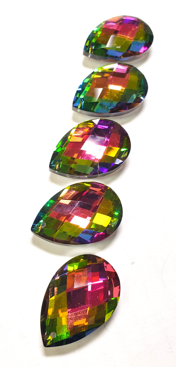 Vitrail Rainbow Diamond Cut Teardrop Chandelier Crystals, 38mm Pack of 5