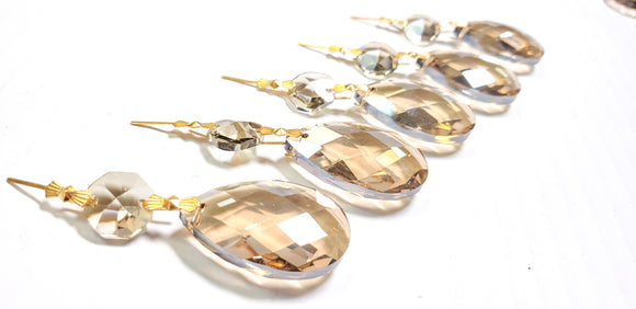 Champagne Diamond Cut Teardrop Ornaments, Chandelier Crystals Pack of 5 - ChandelierDesign
