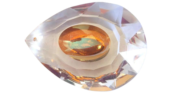 Dragon's Eye Teardrop Chandelier Crystals Prisms, Iridescent Peach Crystal Pendants - ChandelierDesign
