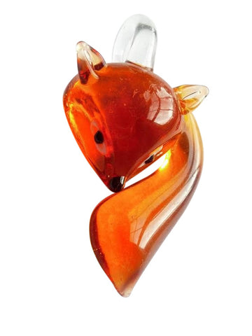 Glass Lampwork Fox Foxes Pendant White Grey Red Amber Black - ChandelierDesign