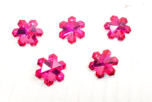 Metallic Fuchsia Snowflake Chandelier Crystals, 20mm Pendants Pack of 5