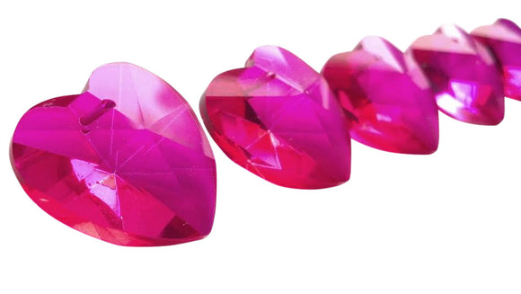 Fuchsia Pink Heart Chandelier Crystals 28mm Pack of 5 - ChandelierDesign