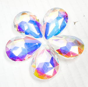 Iridescent Star Faceted Teardrop Chandelier Crystals, 38mm Pack of 5 - ChandelierDesign