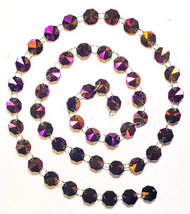 Iridescent Purple Yard Chandelier Crystals Garland, Golden Plum - ChandelierDesign