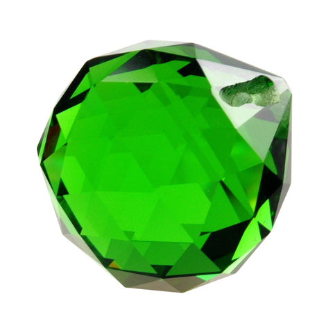 30mm Green Chandelier Crystal Faceted Ball Prism
