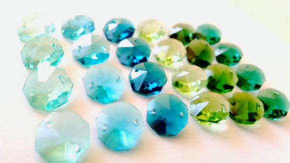 24pc Green and Blue Octagon Beads, 14mm Chandelier Crystals Prisms - ChandelierDesign