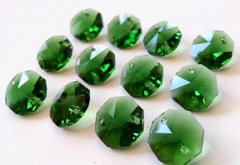 14mm Green Chandelier Crystal Octagon Prisms 2 Hole Beads - ChandelierDesign