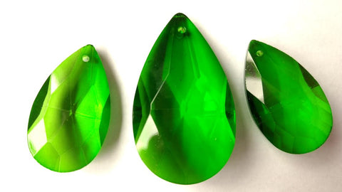3pc set dark green teardrop chandelier crystals for jewlery making and crowns