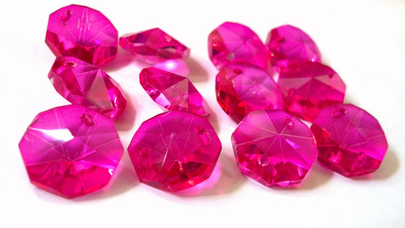 Fuchsia Pink 14mm Octagon Beads Chandelier Crystals 2 Holes - ChandelierDesign